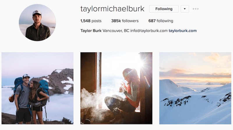Taylor Michael Burk instagram canadian outdoor photography
