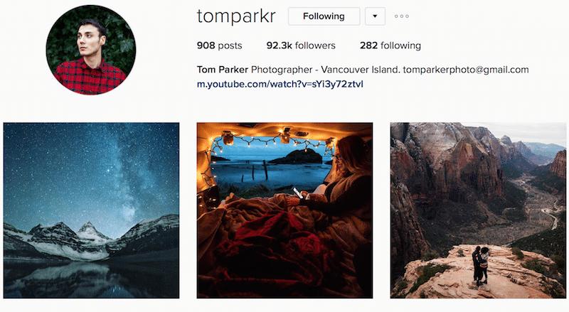 Tom Parker PNW Canada outdoor instagrammer