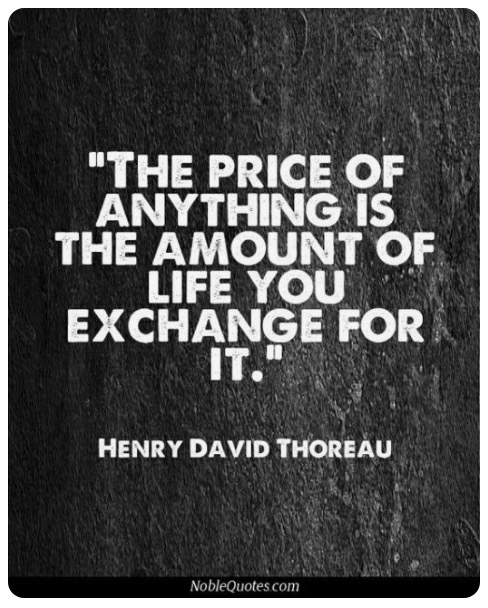 Mindfulness and your money or your life Henry David Thoreau quote